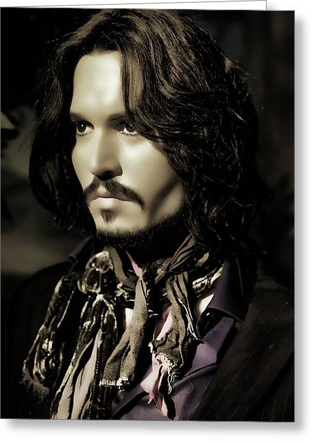 Johnny Depp Greeting Card by Lee Dos Santos
