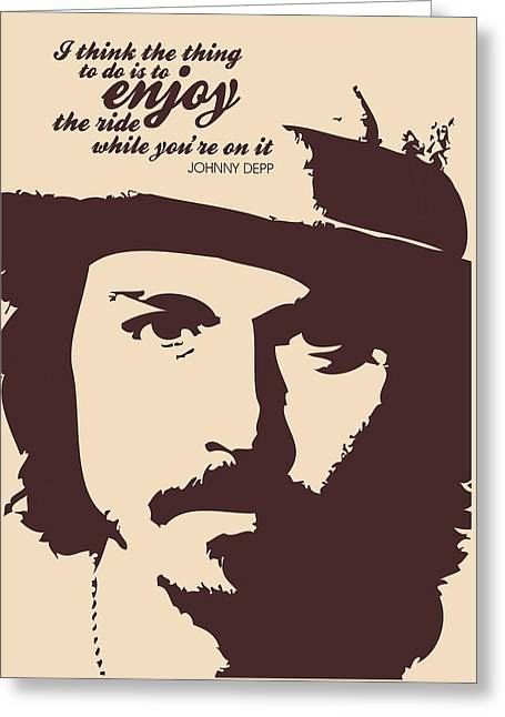 Johnny Depp Minimalist Poster Greeting Card by Lab No 4 - The Quotography Department