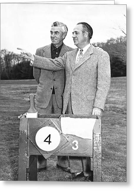 Johnny Farrell & Robert Jones Greeting Card by Underwood Archives