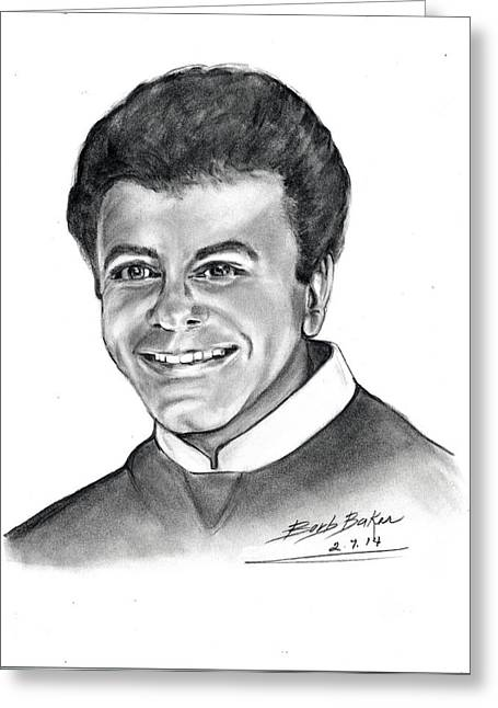 'johnny Mathis' Greeting Card by Barb Baker