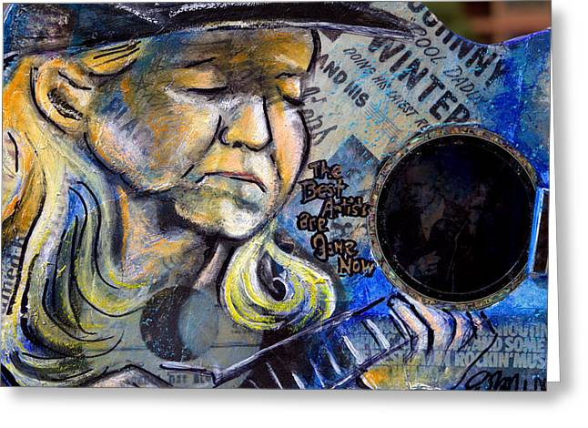 Johnny Winter Painted Guitar Greeting Card by Fiona Kennard