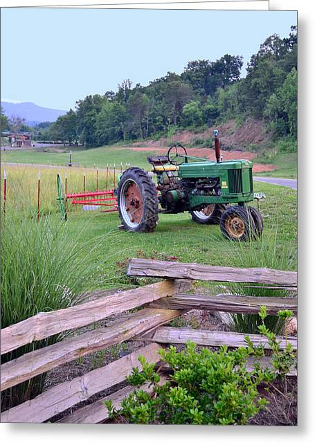 John's Green Tractor Greeting Card by Larry Bishop