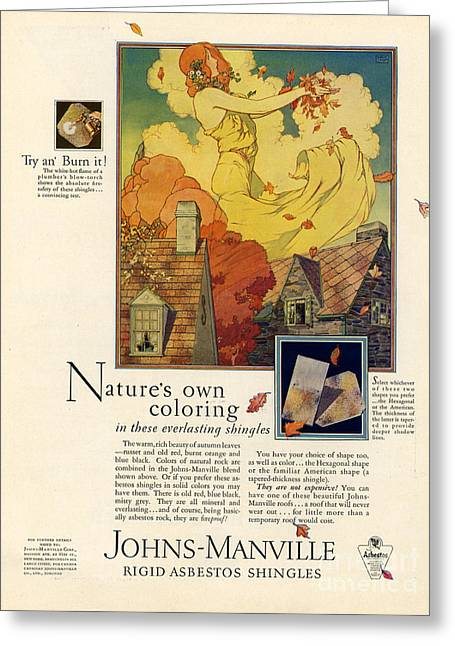 Johns-manville 1927 Usa Cc  Asbestos Greeting Card by The Advertising Archives