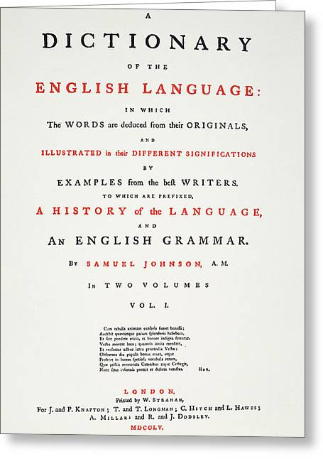 Johnson's Dictionary, 1755 Greeting Card