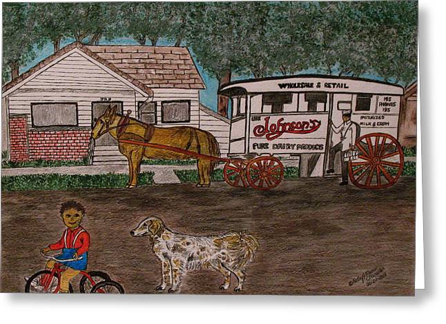 Greeting Card featuring the painting Johnsons Milk Wagon Pulled By A Horse  by Kathy Marrs Chandler