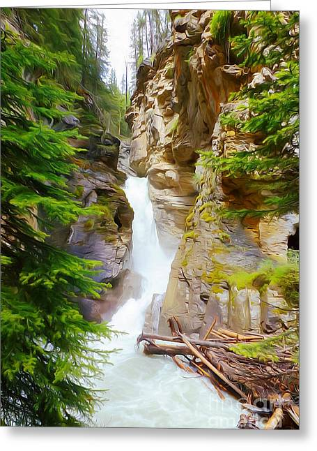 Johnston Waterfall Greeting Card by John Kreiter