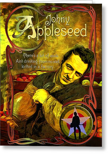 Johny Appleseed Aka Joe Strummer Greeting Card by Duncan Roberts