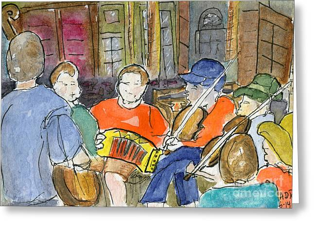 Cajun Music Jam Greeting Card by Andrea Rubinstein