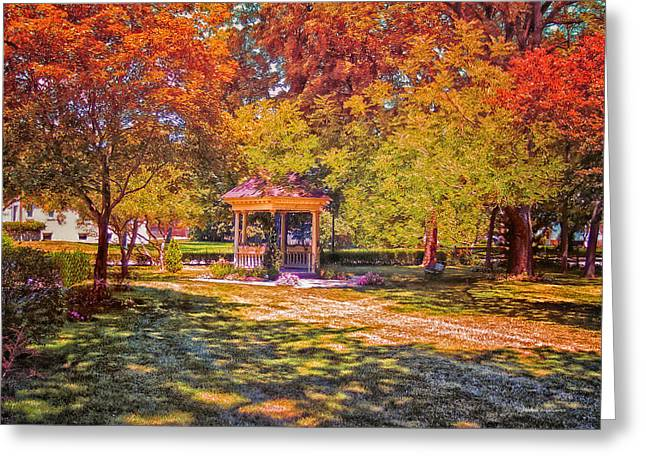 Join Me In The Gazebo On This Beautiful Autumn Day Greeting Card by Thomas Woolworth