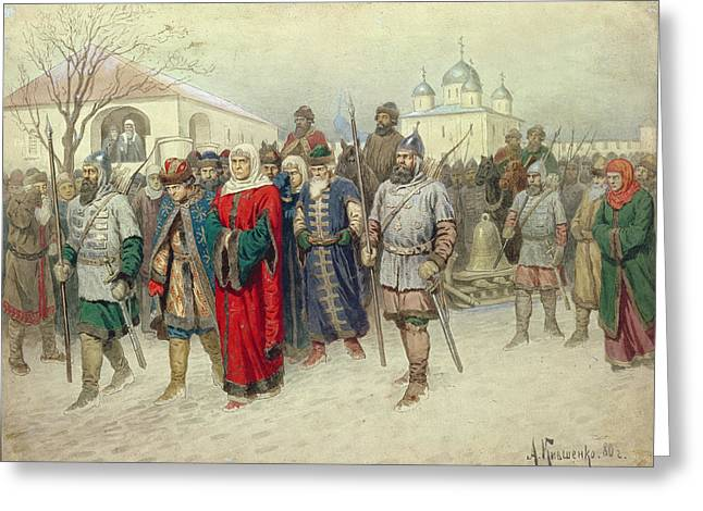 Joining Of Great Novgorod, Novgorodians Departing To Moscow, 1880 Wc On Paper Greeting Card by Aleksei Danilovich Kivshenko
