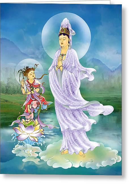 Joining Palms Kuan Yin Greeting Card by Lanjee Chee