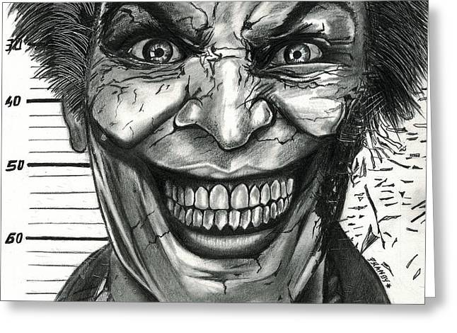 Joker Mugshot Greeting Card by Pranoy Chowdhury
