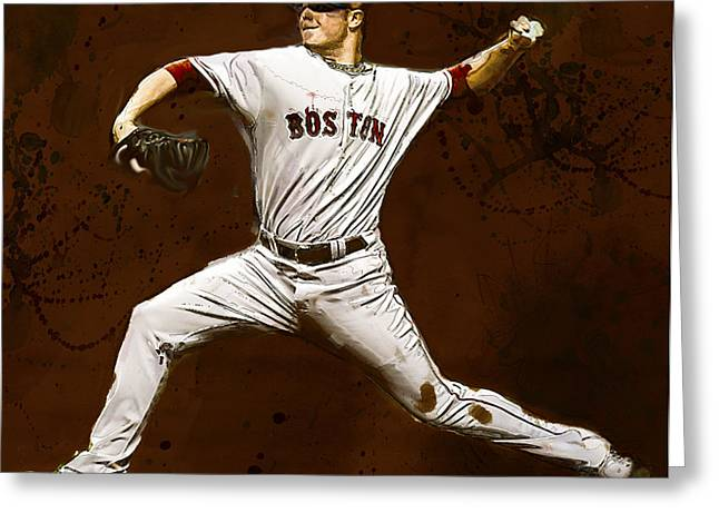 Jon Lester Former Boston Red Sox Greeting Card by Dennis Wickerink