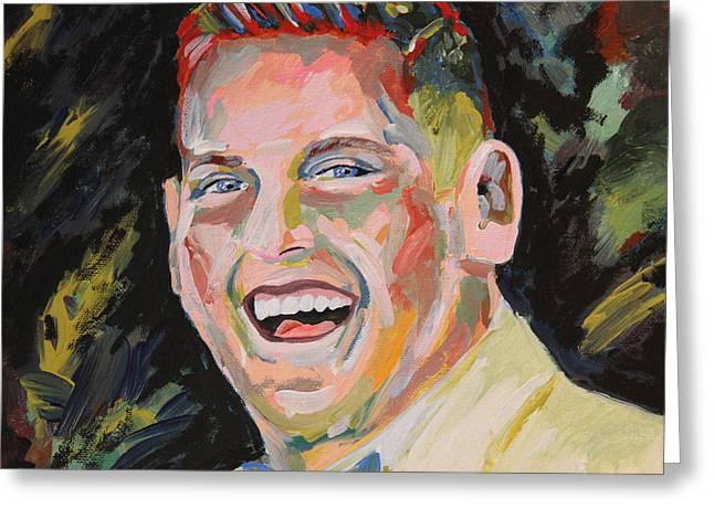 Jonah Hill Portrait Greeting Card by Robert Yaeger