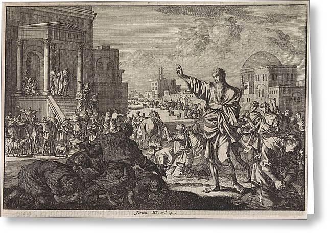 Jonah Predicts The Downfall Of Nineveh, Jan Luyken Greeting Card