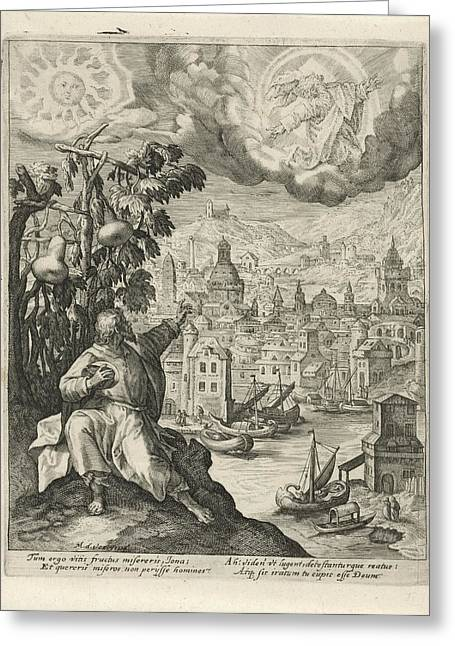 Jonah Sitting Under The Gourd, Crispijn Van De Passe Greeting Card by Quint Lox