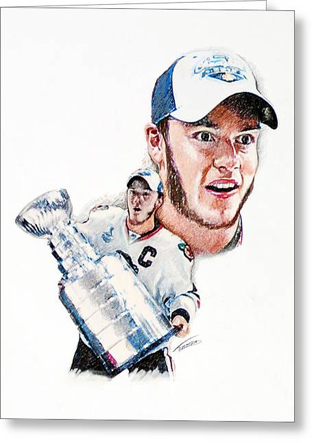 Jonathan Toews - The Season Greeting Card by Jerry Tibstra