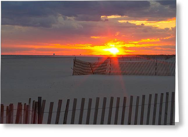 Greeting Card featuring the photograph Jones Beach Sunset One by Jose Oquendo