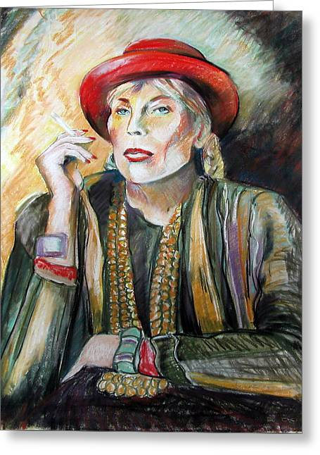 Joni Mitchell Greeting Card by Synnove Pettersen