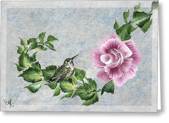 Greeting Card featuring the painting Joni's Flying Jewel by Ella Kaye Dickey