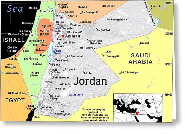 Jordan Exotic Map Greeting Card by Florene Welebny