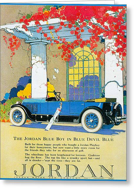 Jordan Motor Car Company Greeting Card by Vintage Automobile Ads and Posters