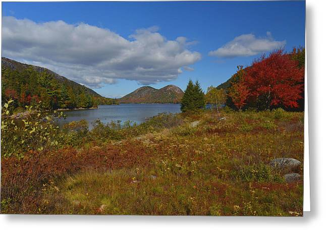 Greeting Card featuring the photograph Jordan Pond Autumn Afternoon by Stephen  Vecchiotti