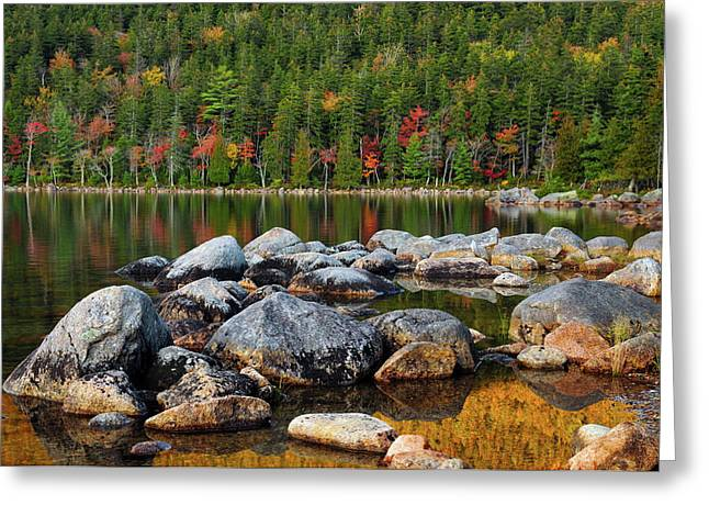 Jordan Pond In Evening Light In Autumn Greeting Card by Michel Hersen