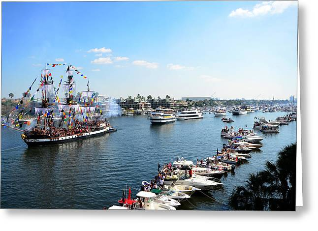 Jose Gasparilla Sailing Up Seddon Channel Greeting Card