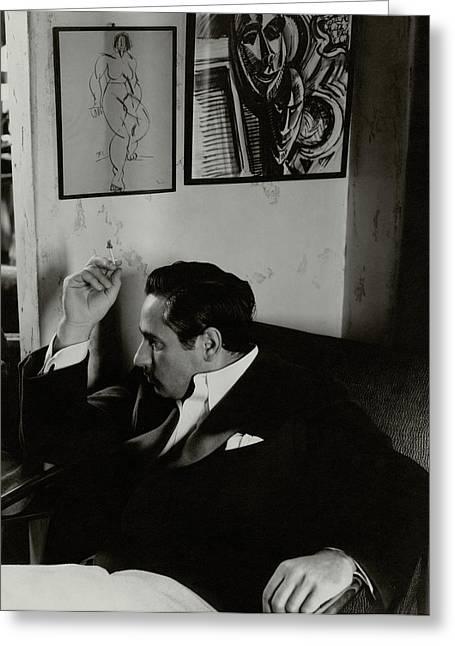 Josef Von Sternberg Smoking A Cigarette In An Greeting Card by Edward Steichen