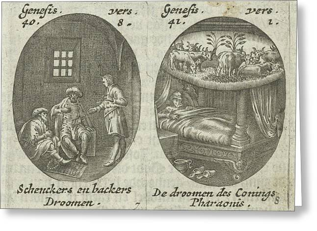 Joseph Explains Dreams Of Cupbearer And Baker Greeting Card by Hans Janssen