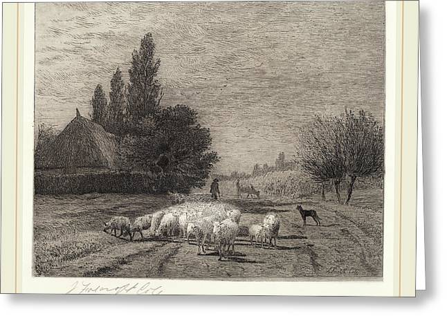 Joseph Foxcroft Cole, Village Street In France With A Flock Greeting Card