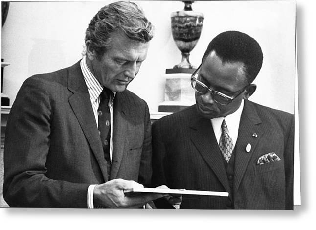 Joseph Mobutu And Lindsey Greeting Card by Underwood Archives