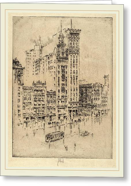 Joseph Pennell, Union Square, Rainy Day, American Greeting Card by Litz Collection