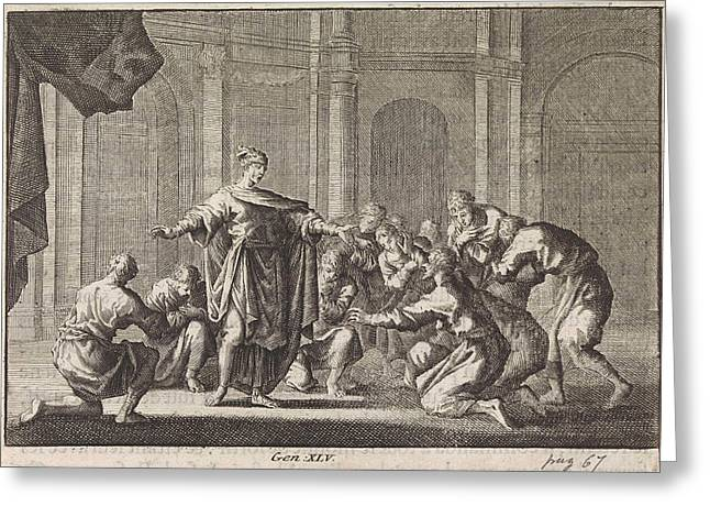 Joseph Reveals Himself To His Brothers, Jan Luyken Greeting Card by Jan Luyken And Pieter Mortier