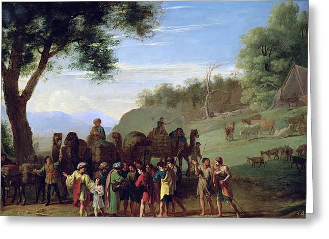 Joseph Sold By His Brothers Oil On Canvas Greeting Card by Herman van Swanevelt