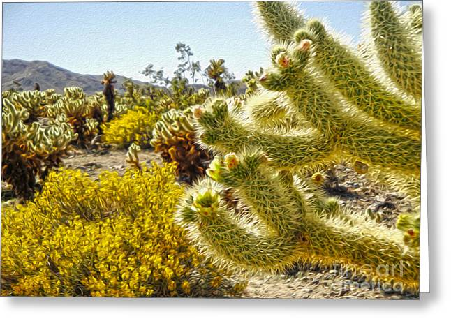 Joshua Tree Cholla Cactus Garden Greeting Card by Gregory Dyer