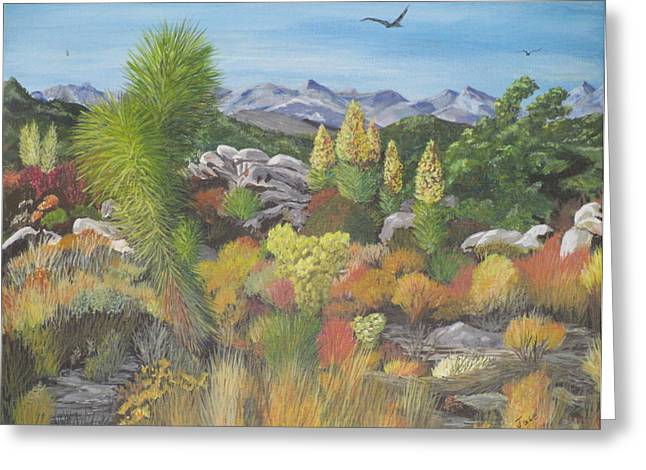 Greeting Card featuring the painting Joshua Tree Park by Hilda and Jose Garrancho