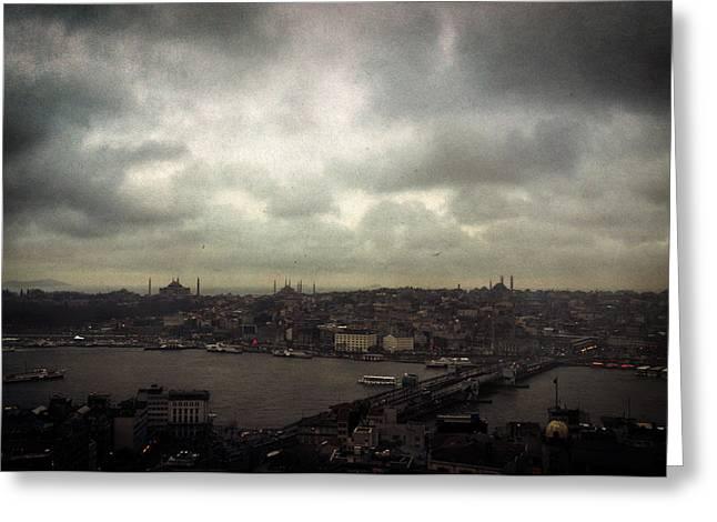 jour de pluie a Istanbul I Greeting Card by Taylan Apukovska