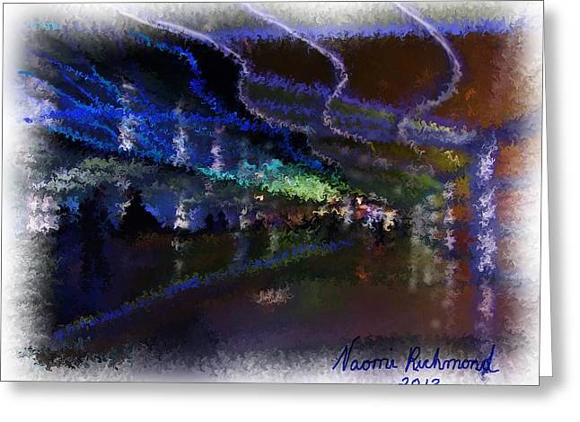 Journey Through The Neon Hallway - Chicago Ohare Greeting Card by Naomi Richmond