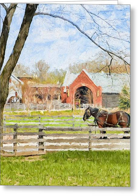 Journey To The Village Greeting Card by Ike Krieger
