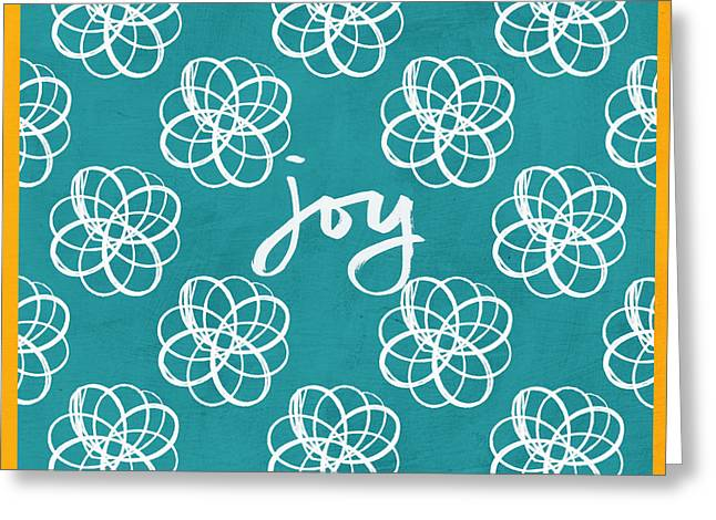 Joy Boho Floral Print Greeting Card by Linda Woods