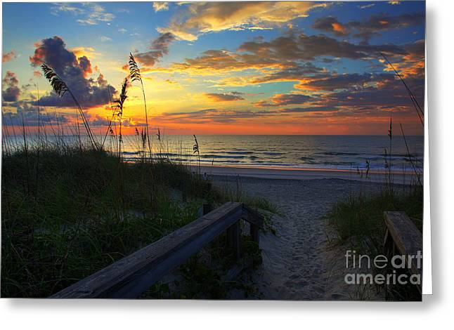 Joy Comes In The Morning Sunrise Carolina Beach Nc Greeting Card by Wayne Moran