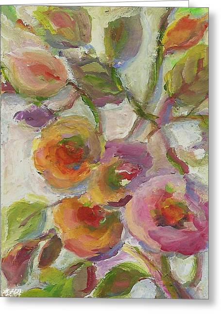 Greeting Card featuring the painting Joy by Mary Wolf