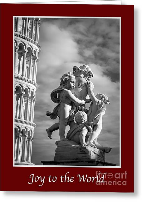 Joy To The World With Fountain Of Angels Greeting Card by Prints of Italy