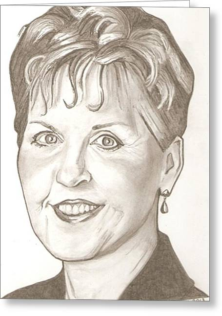 Joyce Meyer Drawing Greeting Card by Robert Crandall