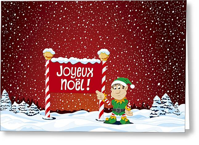 Joyeux Noel Sign Christmas Elf Winter Landscape Greeting Card by Frank Ramspott