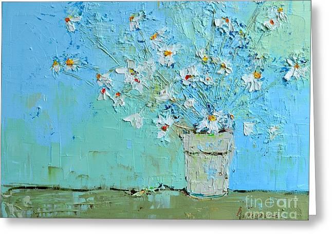 Joyful Daisies Flowers Modern Impressionistic Art Palette Knife Oil Painting Greeting Card