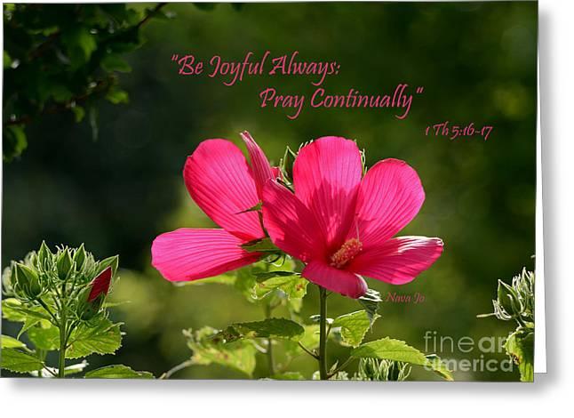 Joyful Hibiscus Garden Greeting Card by Nava Thompson