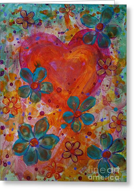 Greeting Card featuring the painting Joyful Noise by Jacqueline Athmann